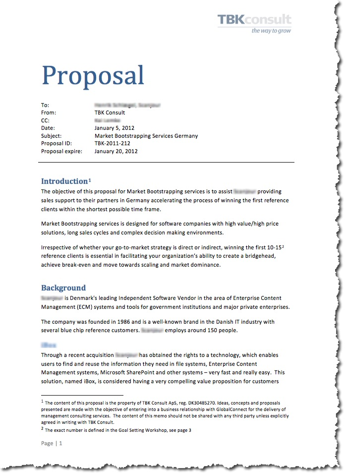 proposal in writing
